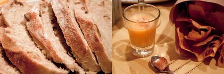 Pa de nous, crema de carbassa i xips de moniato